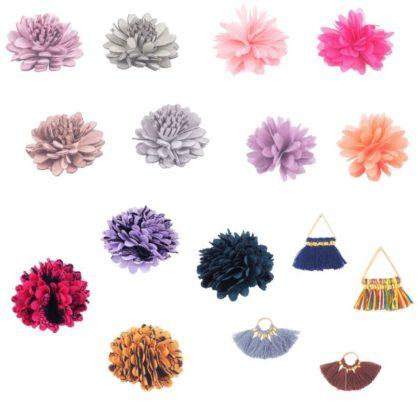Pompones y Flores Tela